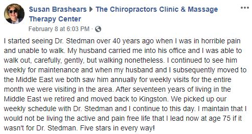 Patient Testimonial at The Chiropractors Clinic & Massage Therapy Center